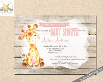Giraffe Baby Shower Invitation, Girl Baby Shower Invitation, Digital File,  PRINTABLE _1306