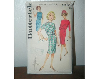 Butterick Pattern 9929 - Vintage Dress Pattern - Uncut - 1960 Dress Pattern - Size 16