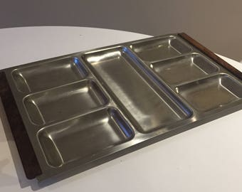Vintage Retro Modernist 1960's 60's 1970s Danish stainless steel & teak serving tray