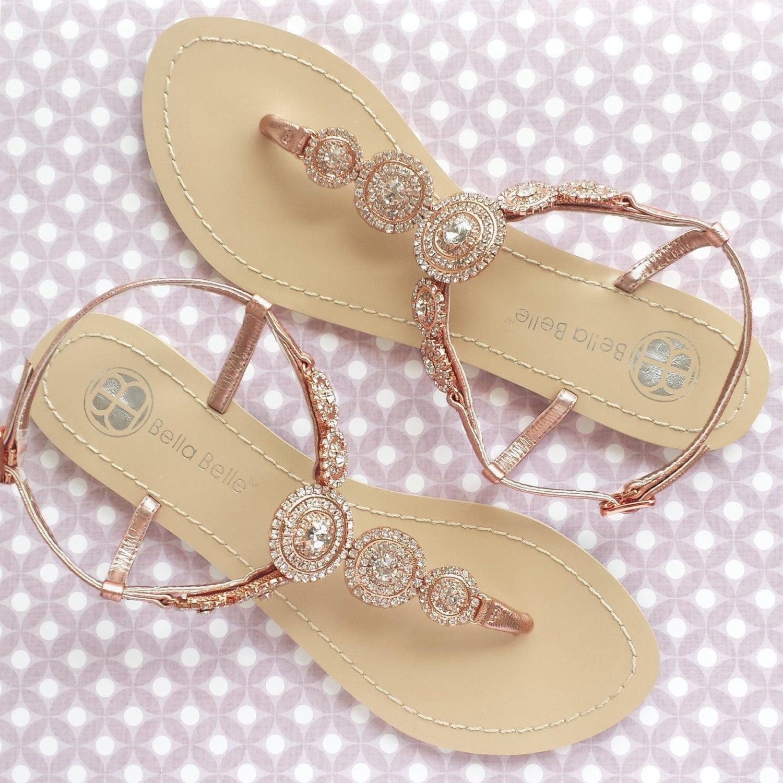 Bridal Shoes Boho: Bohemian Wedding Sandals Boho Chic With Rose Gold Round