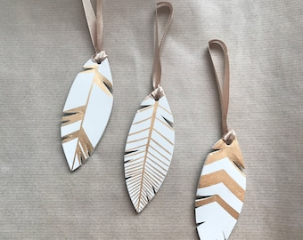 White and gold clay feathers decorative Ornaments
