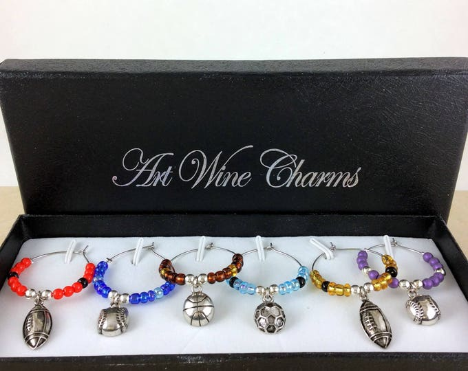 Wine Glass Charms, sports Wine Charms, Wine Lover Gift, Wine Charms, Wine Gift,  BFF Gift, Sport lovers charms, football charms, baseball