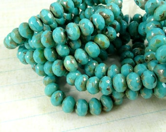 Czech Beads, 7x5mm Rondelle, Czech Glass Beads - Dark Turquoise Picasso (R7/RJ-1899) - Qty. 25