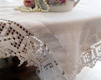 Antique Linen Tablecloth, Crochet Border, Shabby French, Table Cloth, Linens and Lace, Table Linens, Dining Linens, by mailordervintage