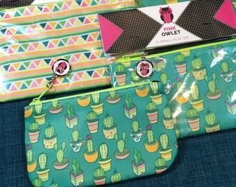 Cactus Print Flat Zip Bags