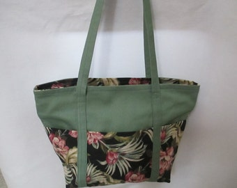 Tote Bag, Rose and Green Floral