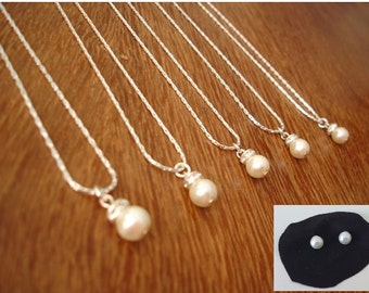 Set of 7 Bridesmaids Gift Necklace and Pearl Studs - Simple & Elegant Bridesmaid gifts
