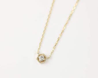 14k yellow gold simple diamond necklace, 0.10ct white diamond dainty tiny necklace, rose gold, white gold, unique necklace, layer necklace