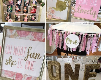 Baby First Tea Party - Pink and Gold Floral Party Pack