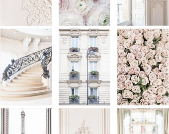 Paris Gallery Wall - The Kristy Wicks Paris Collection, Elegant Pastel Gallery Wall, Large Wall Art, French Decor