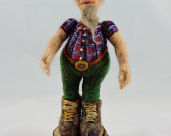Needle Felted Logger, Puppet ,Decorative Needle Felted Figure, Home Décor, Collectable Felted Figures