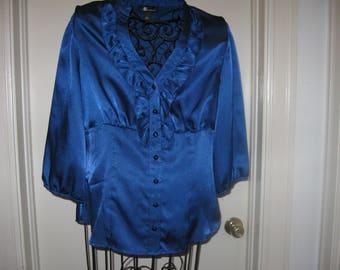 Vintage Blue Ruffle Button Up Front AB Studio Blouse  Size Large
