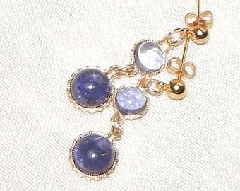 Iolite earrings,Iolite and gold earrings,Blue iolite earring,Iolite dangle earring,Iolite drop earring,Iolited gemstone earrings,blue iolite
