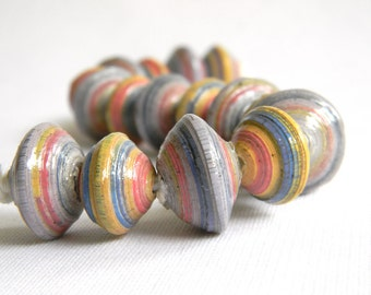 Paper Bead Jewelry Supplies - Paper Beads - Hand painted - Lot of 16 - #RA119