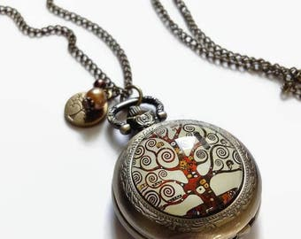 Tree of life Pocket Watch - Klimt necklace glass cabochon and bronze
