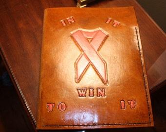 Leather notebook binder, custom  Breast Cancer