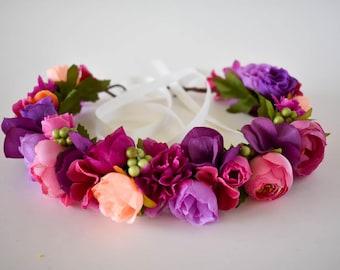 Wine flower crown Burgundy floral crown Purple flower crown Wedding flower crown Baby shower crown Flower girl crown Photo shoot crown