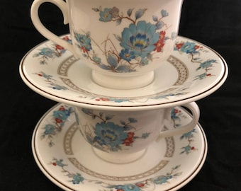 Set of Two Noritake Bleufleur Versatone Cups and Saucers Japan