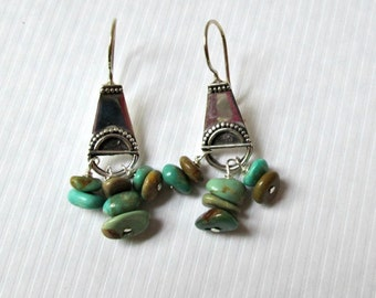 Natural Turquoise Tribal Bali Silver Earrings