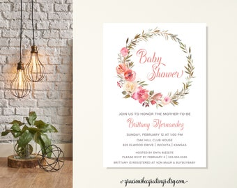Pink Floral Wreath Baby Shower Invitation, Neutral Baby Shower Invitation, Watercolor Flower Baby Invitation, Baby Girl Sip and See Invite
