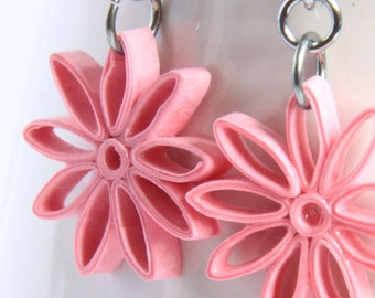 Pink Star Earrings Nine Pointed Paper Quilling bridesmaid gift Niobium Eco Friendly Artisan Jewelry hypoallergenic