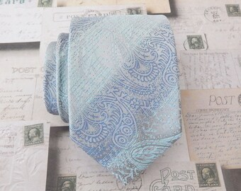 Mens Tie Gray and Light Blue Paisley Necktie