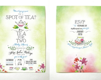 Tea for Two Baby Shower Invitations
