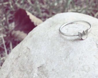 Sterling silver flower ring , Thin ring , Stackable ring , Delicate ring , Elegant ring , Gift For Her , Birthday gift