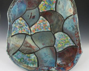 Patchwork Raku tray; slab built; metallic glaze/alcohol ink