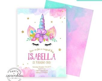 Magical Unicorn Birthday Party Invitation Design, Gold Glitter and Watercolors, Unicorn Birthday decor - Double Sided Printable Design