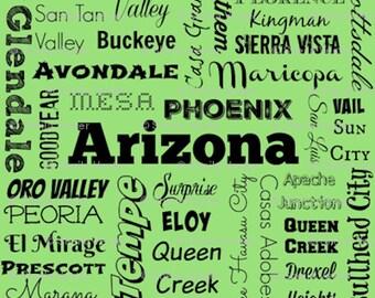 Arizona fabric - AZ cities typography fat quarter - Ariz. FQ - lime green or gray or light blue