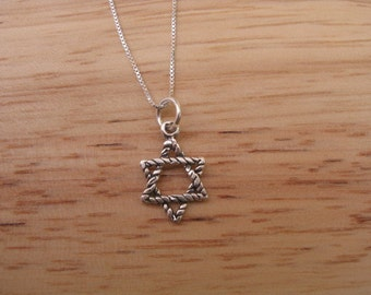 Star Necklace, Minimalist Jewish Star Necklace, Modern Star of David Necklace, Little Silver Star,  Rope Design For Men or Women