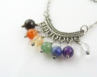 Chakra Necklace, Gemstone Necklace in Chakra Colors, Gem Jewelry, Handmade Chakra Gemstone Necklace, Chakra Pendant, Chakra Stones, N1938