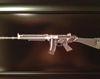 FN FNC rifle    print - ready to frame