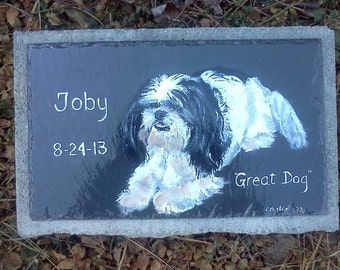 Pet Memorial Garden Stone,slate, outdoor pet memorial,,custom painted pet memorial stone, personalized,,cat, dog,pet
