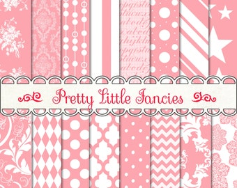 Digital Paper Digital Backgrounds 12x12 Scrapbook Paper Pack Pink and White Patterns Stars Stripes Polka Dots Swirls Diamonds Damask