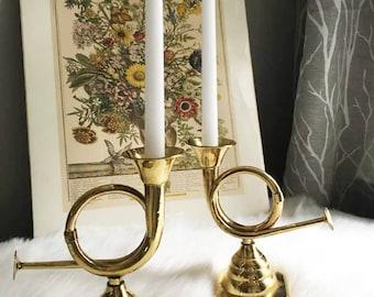 French Horn Candlesticks / Brass Candlestick Pair /  Horn Candle Holders / Masculine Candlesticks / Musician Decor / Mantel Candlesticks