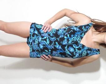 Vintage Swimsuit / 60s Swimsuit / Glumann Swimsuit / Floral Swimsuit / Bathing Suit / Bullet Bra / Large Swimsuit / One Piece Swimsuit