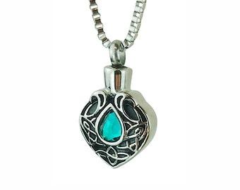 Celtic Turquoise Crystal Urn Pendant Necklace - Memorial Ash Keepsake - Cremation Jewellery - Personalised Engraving!