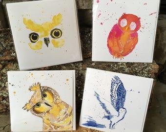 """Set of 4 """"Wildlife"""" handmade watercolor greeting cards * 4 greetings cards """"Wildlife"""" handmade watercolor pack"""