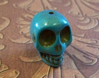Skull Large Bright Turquoise Blue Stone
