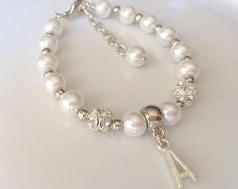 Personalized childrens bracelet, flower girl,  flower girl gift, personalized flower girl, wedding jewelry