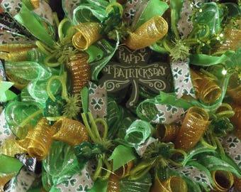 Deco Mesh Wreath for St. Patricks Day