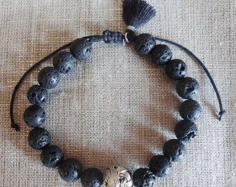 Mens bracelet, lava beads, black