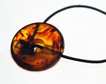 Faux Tortoiseshell Ponytail Holder, Vintage Button Hair Accessory