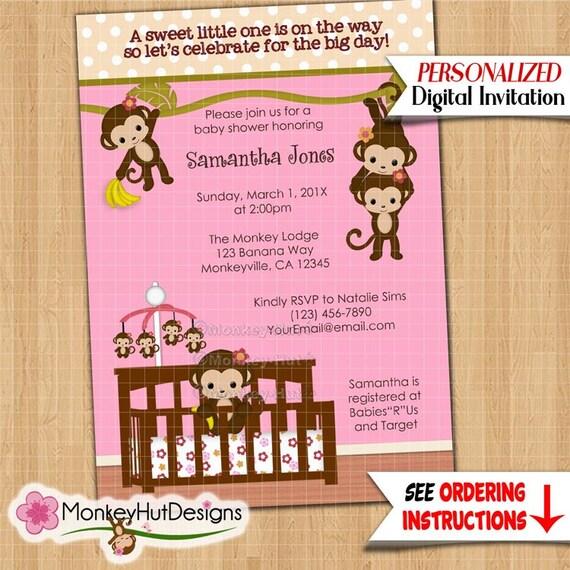 Imgenes de baby shower invitations monkey girl twin monkey girls baby shower invitations free filmwisefo