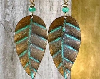 Bronze Earrings, Leaf Earrings, Patina Earrings, Turquoise Earrings, Nature Earrings, Earthy Earrings, Palm Tree Earrings, Statement Earring