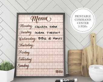 Command Center Printables, Weekly Meal Planner, Kitchen Menu, Printable To Do List, Printable Kitchen Calendar, Printable Kitchen Signs.