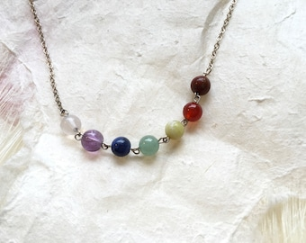 Simple Seven Chakra Gemstone Necklace
