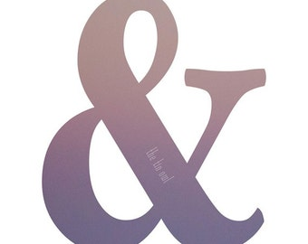 Ampersand Typography Print | Purple Pink Sunset Photograph | Wall Art | Home Decor | Writers & Artists